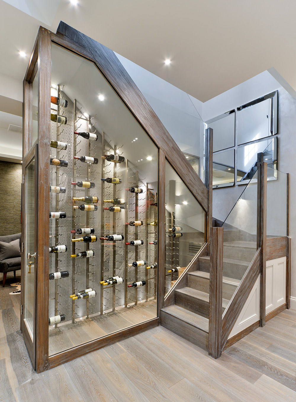 Wine Staircase, Basement Conversion, London