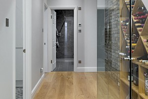 Basement Conversion Clapham entrance with staircase and glass panels.